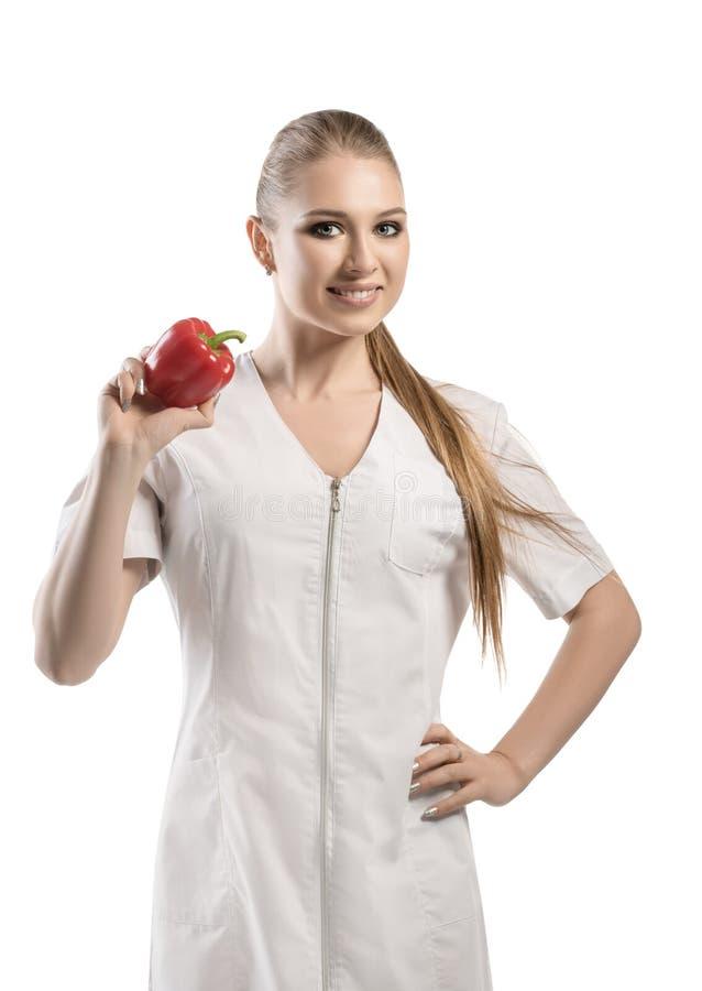 Ernährungswissenschaftler in weiße Uniform lokalisiertem Schuss stockfoto