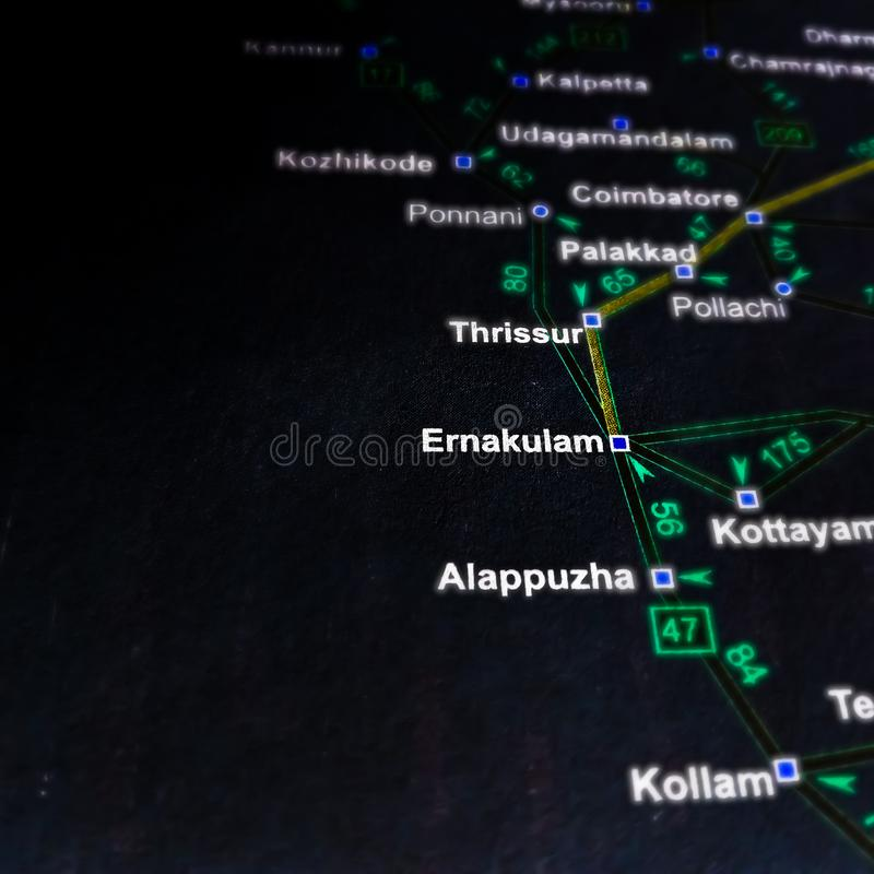 ernakulam district name displayed on India map 图库摄影