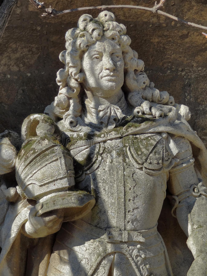Ernest Augustus. Stone sculpture detail at the Marienburg Castle in Lower Saxony (Germany) showing Ernest Augustus, Elector of Brunswick-Lueneburg stock photos