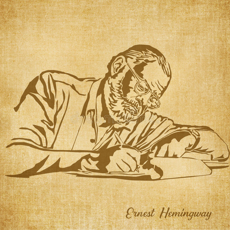 Free Ernest Hemingway Digital Hand Drawn Illustration Stock Image - 78976501