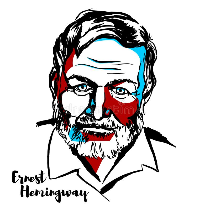 Ernest Hemingway Portrait. Ernest Hemingway engraved vector portrait with ink contours. American novelist, short story writer, and journalist