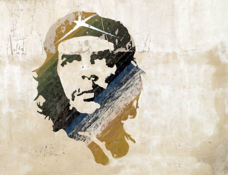 Ernesto Che Guevara. Illustration on a wall of ernesto che guevara in cuba