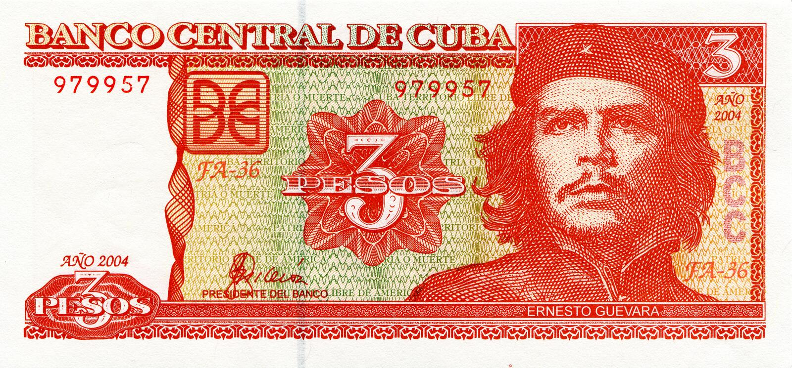 Ernesto Che Guevara on a banknote of Cuba. Face value is 3 peso stock photography