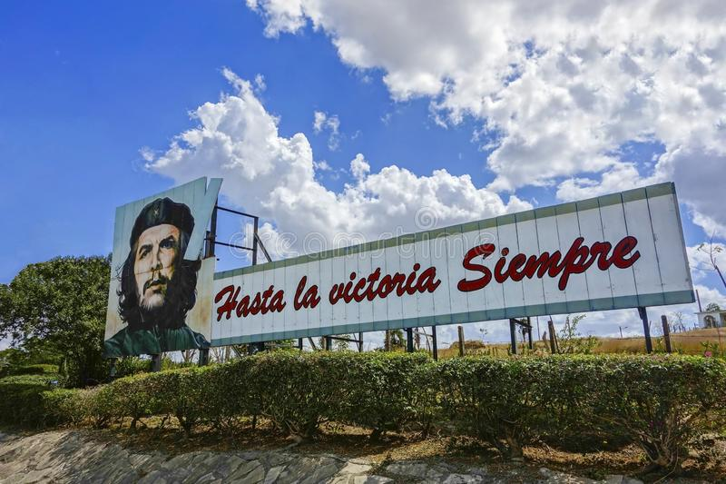 Ernesto Che Guevara Celebrity Roadside Face Poster Drawing Victory Text Cuban Communism Revolution. Roadside Drawing Poster of Ernesto Che Guevara, Hero of Cuban royalty free stock images