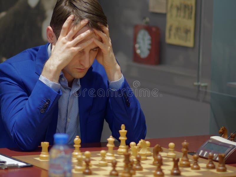 Ernesto Inarkiev i toppen-finaler av den ryska schackmästerskapet fotografering för bildbyråer