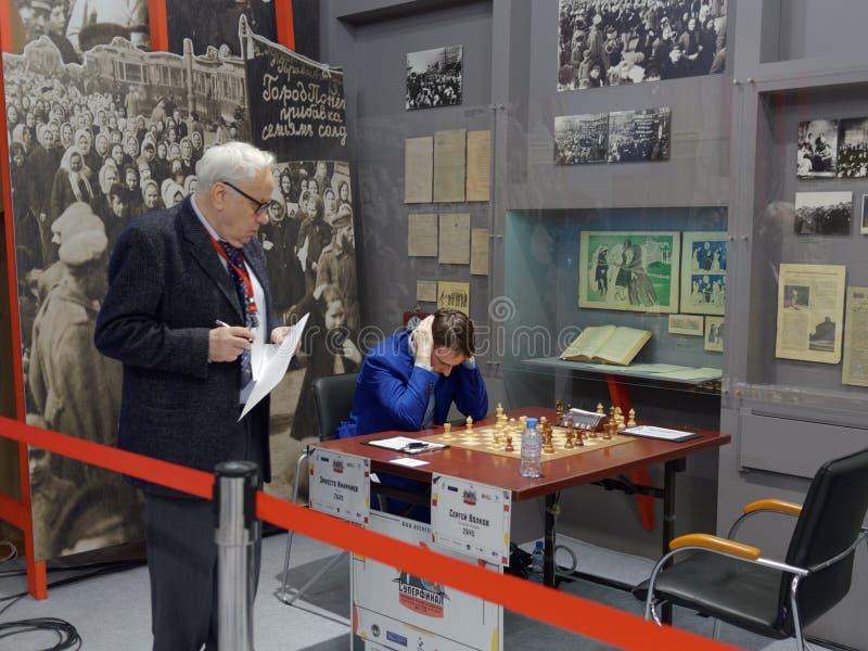Ernesto Inarkiev i toppen-finaler av den ryska schackmästerskapet arkivbilder
