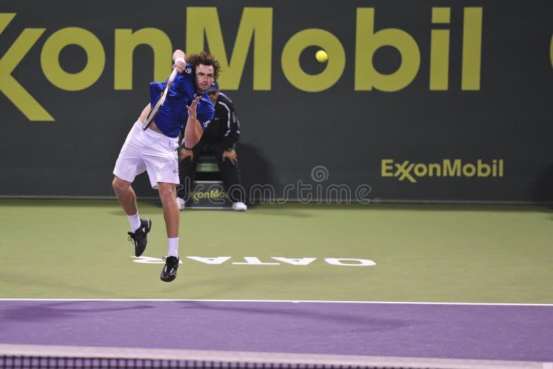 Ernests Gulbis dans le tennis de triphosphate d'adénosine image libre de droits