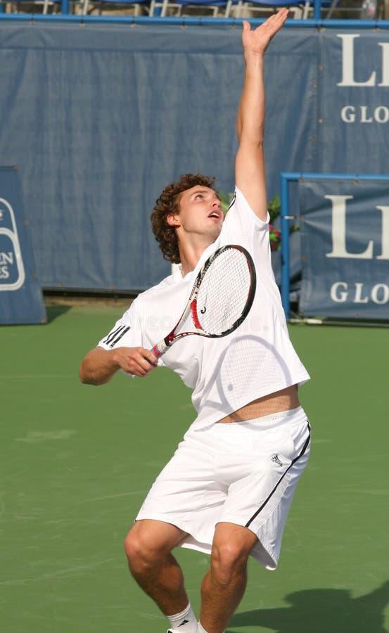 Ernests Gulbis: Pro Tennis Player Serve stock photos