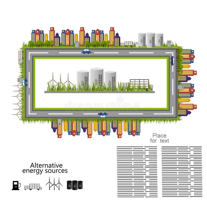 Erneuerbare Energie alternative Energiequellenikone vektor abbildung