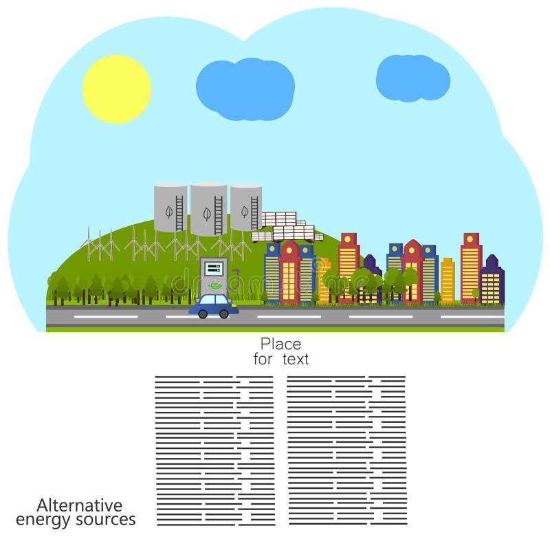 Erneuerbare Energie alternative Energiequellenikone lizenzfreie abbildung