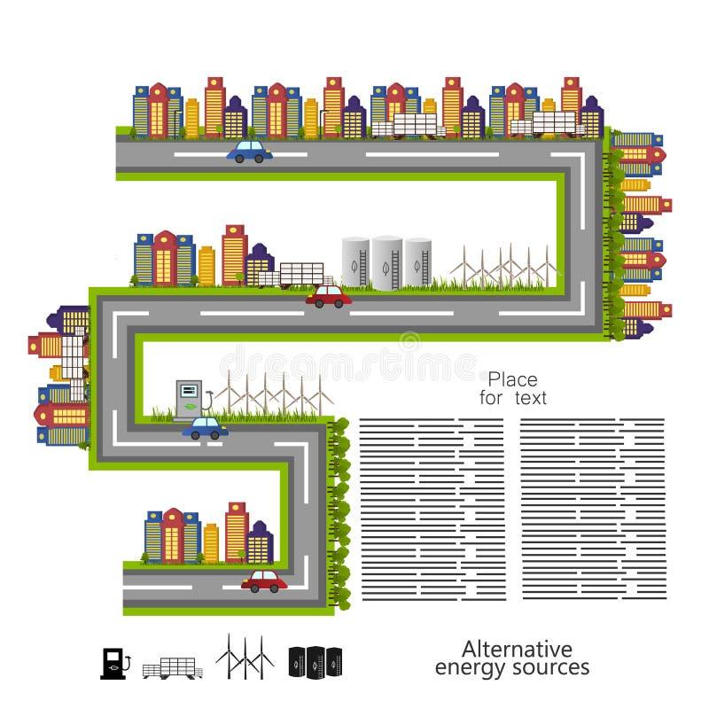 Erneuerbare Energie alternative Energiequellenikone stock abbildung