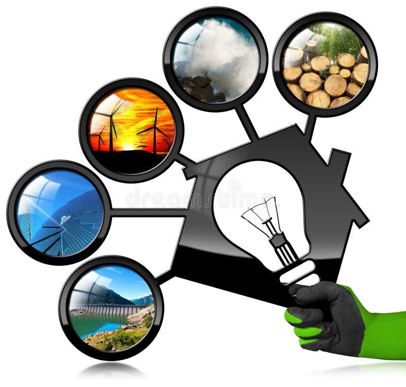 Erneuerbare Ressourcen und Haus mit Glühlampe lizenzfreie stockfotos