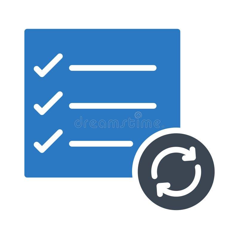 Erneuern Sie Checkliste Glyphfarbvektorikone lizenzfreie abbildung