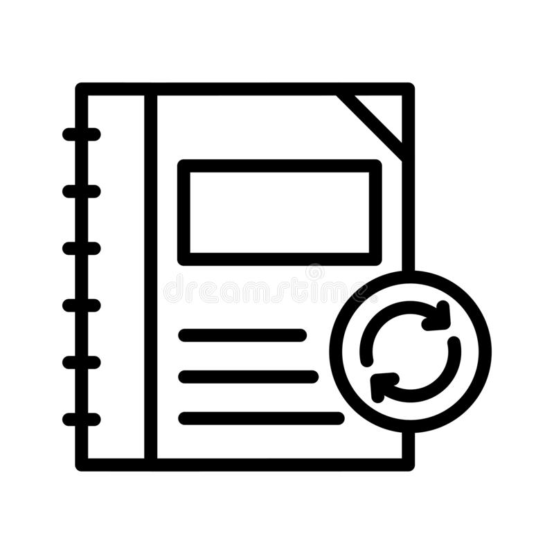 Erneuern Sie dünne Linie Vektorikone des Notizbuches lizenzfreie abbildung
