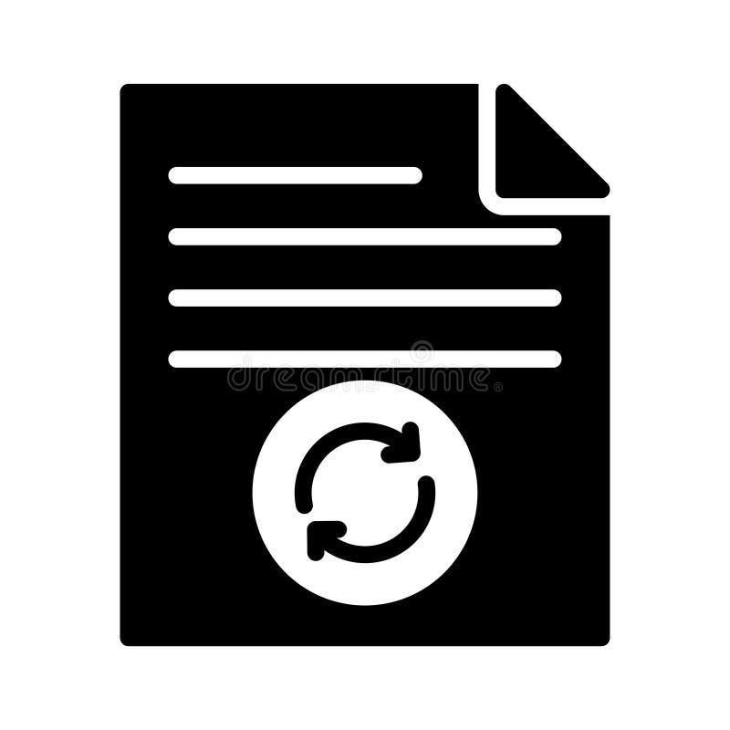 Erneuern Sie flache Vektorikone Datei Glyph stock abbildung