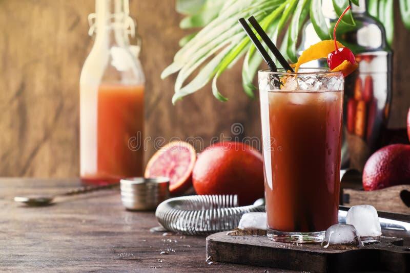 Erneuerndes schwach alkoholhaltiges Cocktail des Sommers mit Wodka, Orangensaft, blutiger Orange und Eis Heißer Tag an der Strand stockfoto
