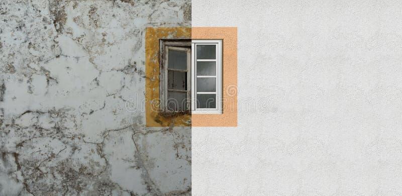 Erneuerung einer alten Hausfassade und -fensters lizenzfreies stockbild