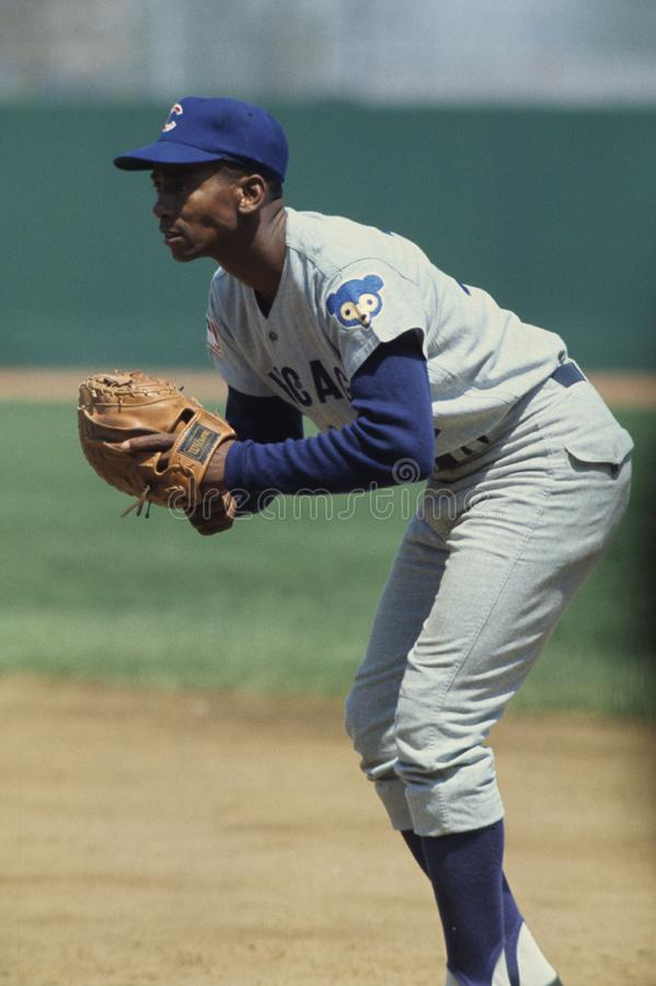 Ernie Banks of the Chicago Cubs Hall of Fame Player. Ernie Banks of the Chicago Cubs waits on First base. Ernie Banks was one of the all time great players who royalty free stock images