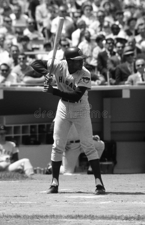 Ernie Banks Chicago Cubs. Ernie Banks of the Chicago Cubs waiting at home plate to hit. Photo was taken at Shea Stadium in New York royalty free stock image