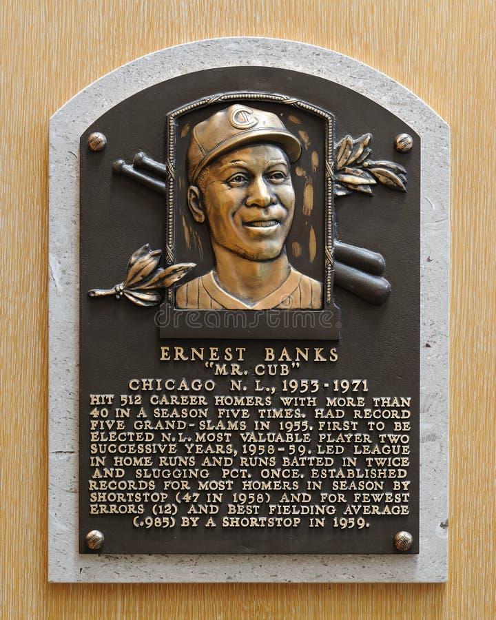 Ernie Banks Hall av berömmelseplatta royaltyfri fotografi