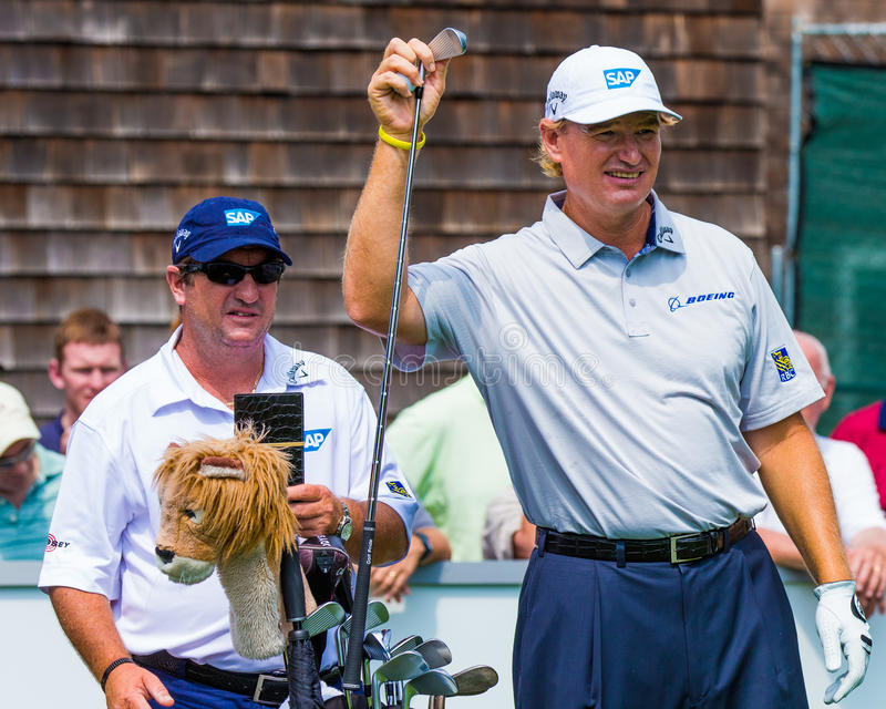 Ernie Els at the 2012 Barclays. FARMINGDALE, NY - AUGUST 22: Ernie Els prepares to hit a shot at Bethpage Black during the Barclays on August 22, 2012 in royalty free stock image