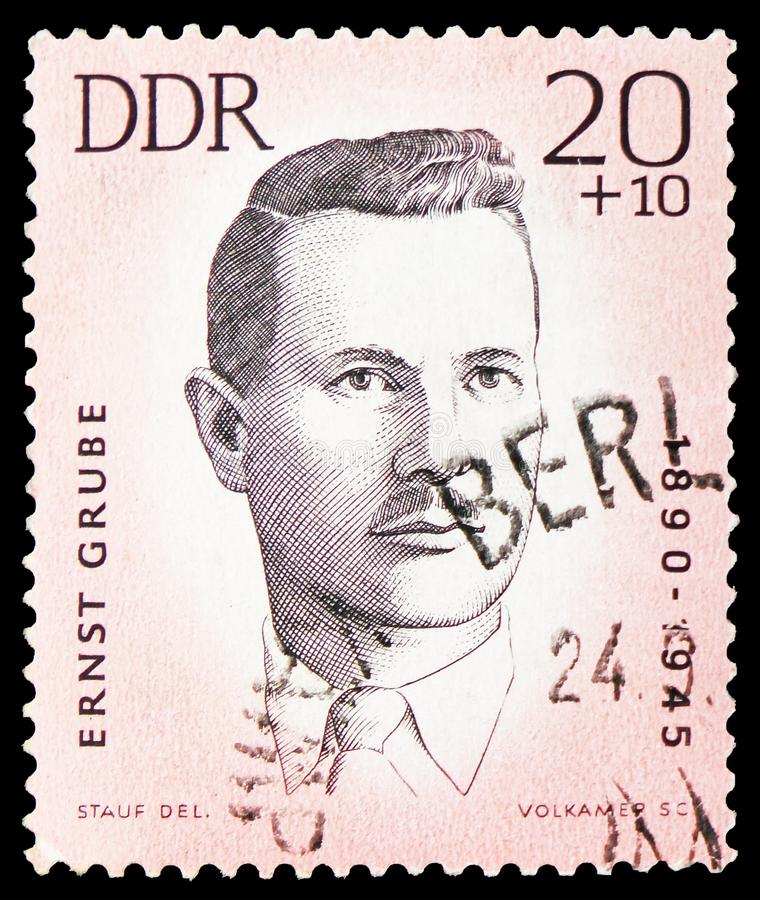 Ernst Grube, Murdered Anti-Fascist Athletes serie, circa 1963. MOSCOW, RUSSIA - FEBRUARY 20, 2019: A stamp printed in Germany, Democratic Republic, shows Ernst stock images