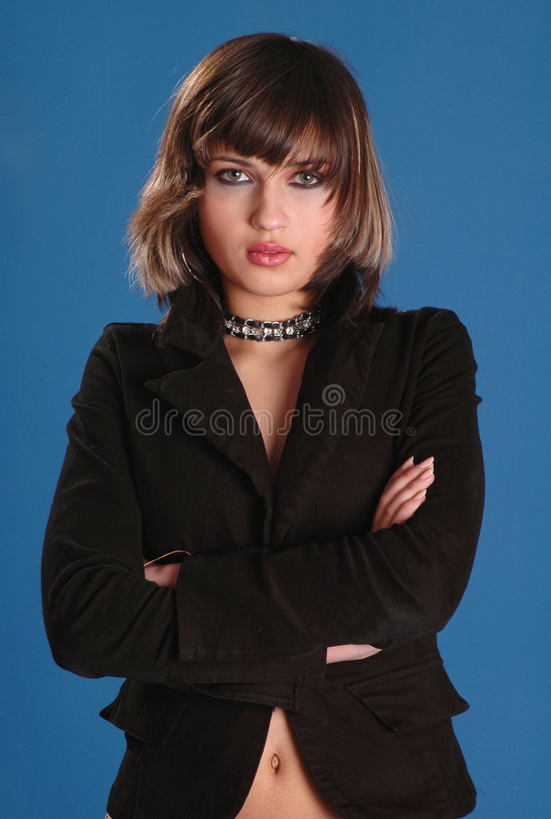 Ernste Frau stockbild
