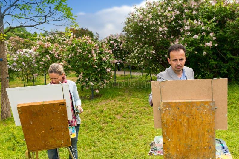 Ernste Mann- und Frauenmaler, die im Freien malen stockbilder