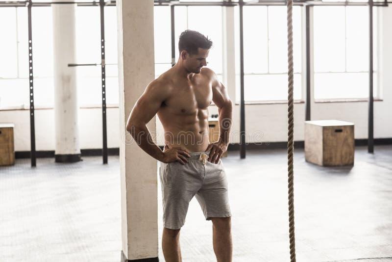 Ernste muskulöse hemdlose Mannaufstellung lizenzfreie stockfotos