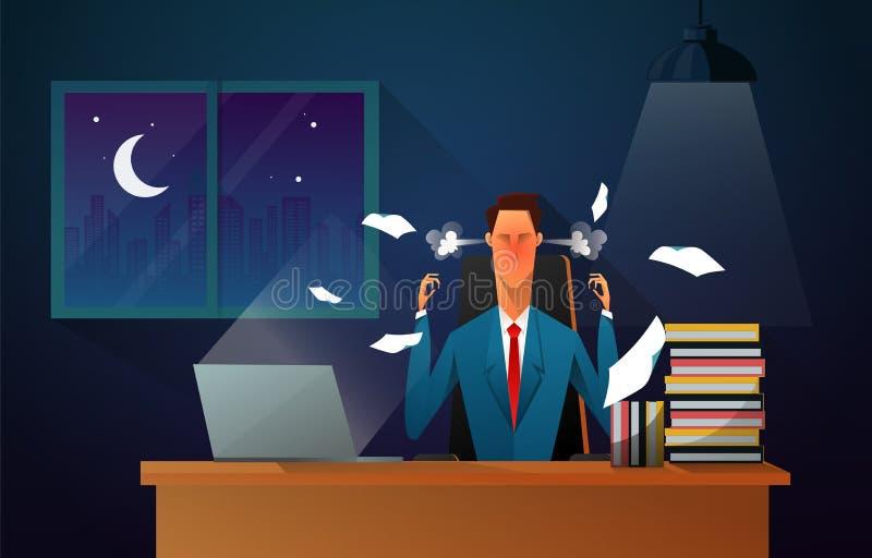 Ernster Chef Älterer Geschäftsmann, der an seinem Schreibtisch mit verärgertem Gesicht sitzt Geschäftsmann, der im Büro bis Nacht vektor abbildung