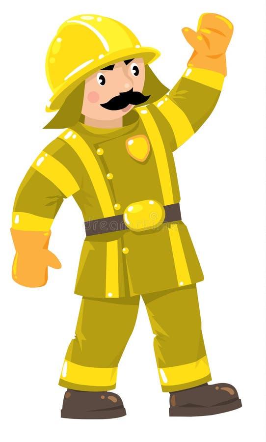 Ernster Feuerwehrmann oder Feuerwehrmann in der Uniform vektor abbildung