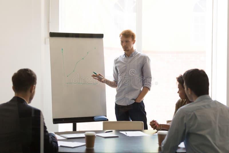 Ernster Geschäftsmannsprecher, der Flip-Chart Darstellung erklärt Umsatzwachstum gibt lizenzfreie stockfotografie