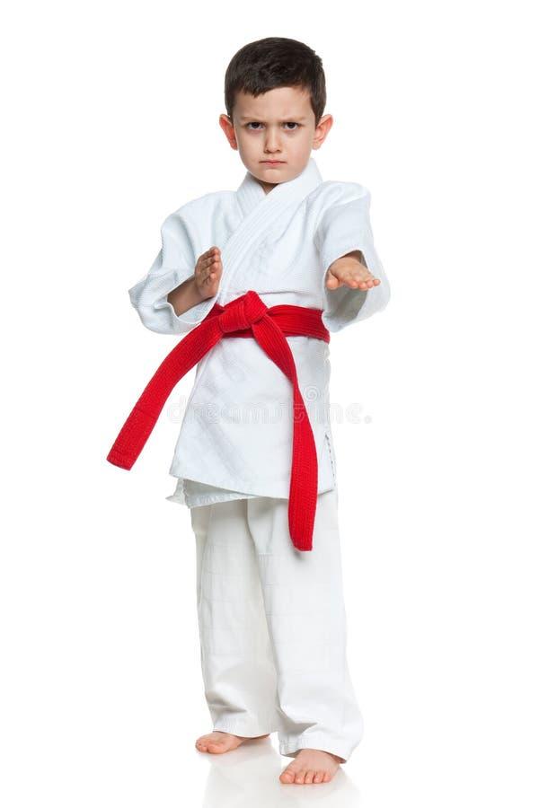 Ernster kleiner Junge im Kimono lizenzfreie stockfotografie