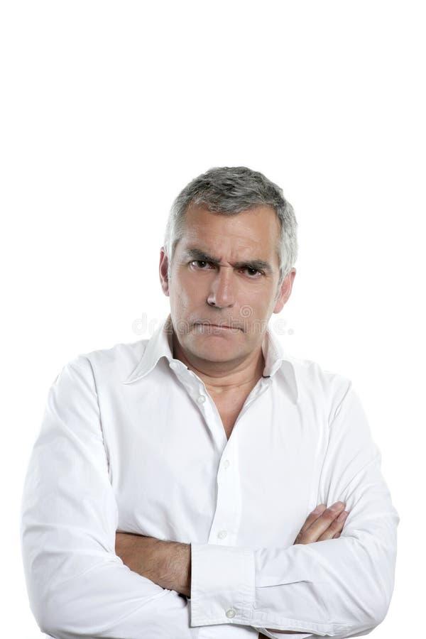 Ernster Mann des verärgerten Haares des Geschäftsmannes älteren grauen lizenzfreie stockbilder