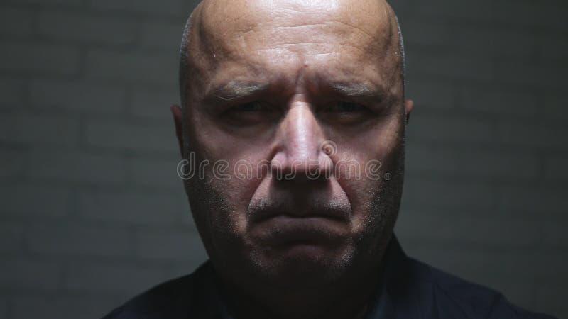 Ernster und überzeugter Porträt-Umkippen-Geschäftsmann Image Looking zur Kamera lizenzfreie stockfotos