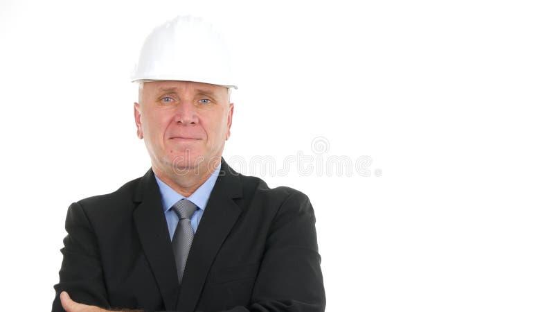 Ernstes Ingenieur-Manager-Presentation Construction Company-Bild lizenzfreie stockfotografie