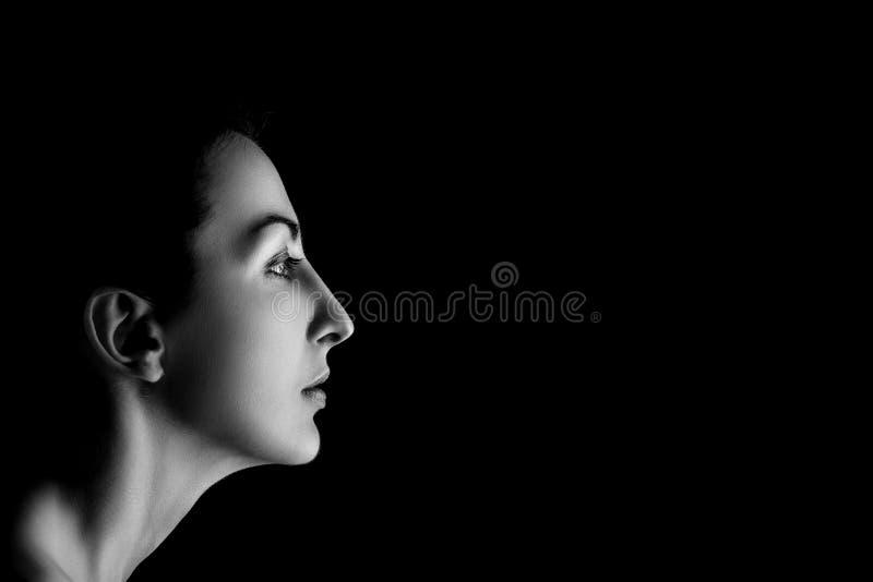 Ernstes weibliches Profil lizenzfreies stockbild