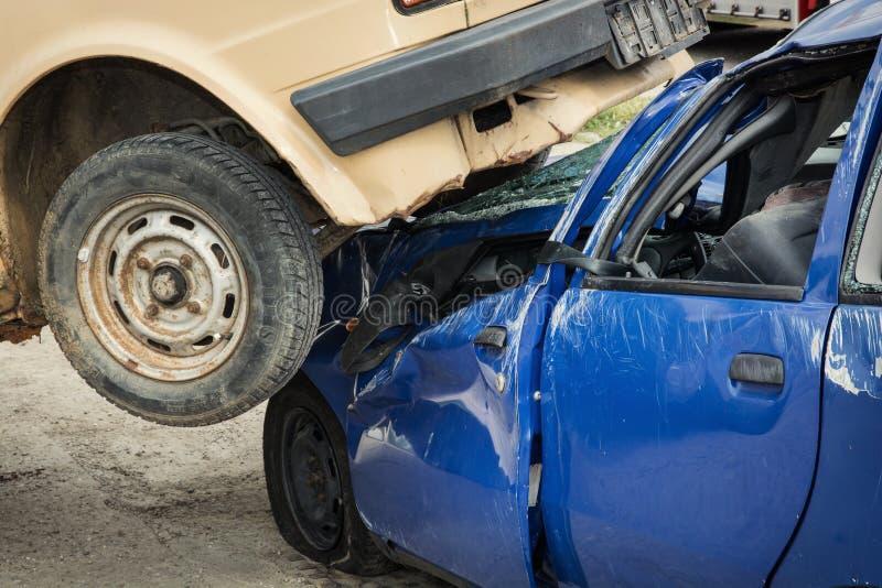 Ernstig autoongeval stock afbeelding