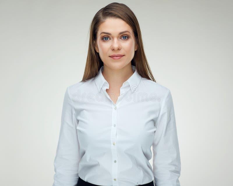 Ernstig bisinesswoman geïsoleerd studioportret stock foto