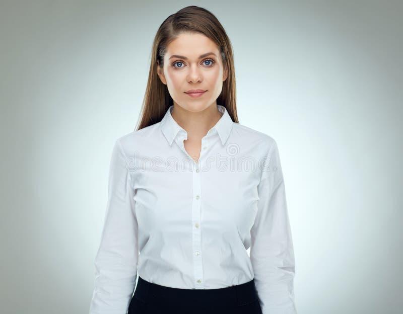Ernstig bisinesswoman geïsoleerd studioportret royalty-vrije stock fotografie