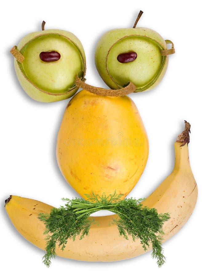 Ernstig gezicht dat van vruchten wordt gemaakt royalty-vrije stock foto