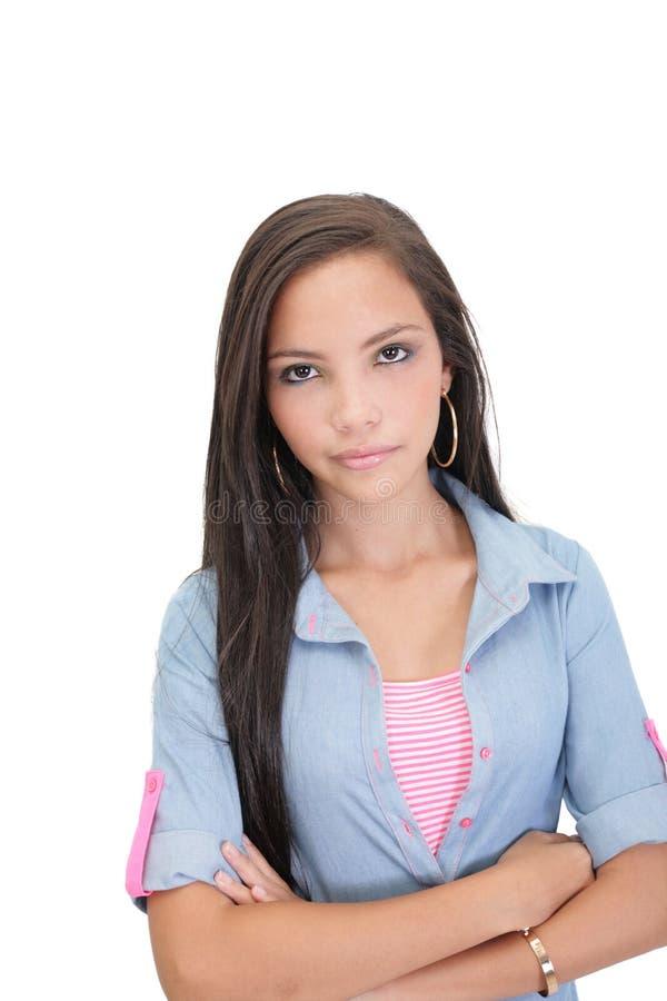 Download Ernstig vrouwenportret stock afbeelding. Afbeelding bestaande uit brunette - 29501991