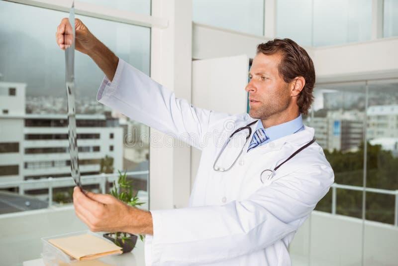 Ernstige arts die röntgenstraal in medisch bureau onderzoeken stock afbeelding