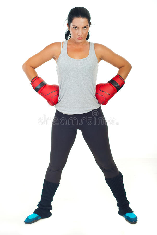 Ernstige bokservrouw royalty-vrije stock afbeeldingen