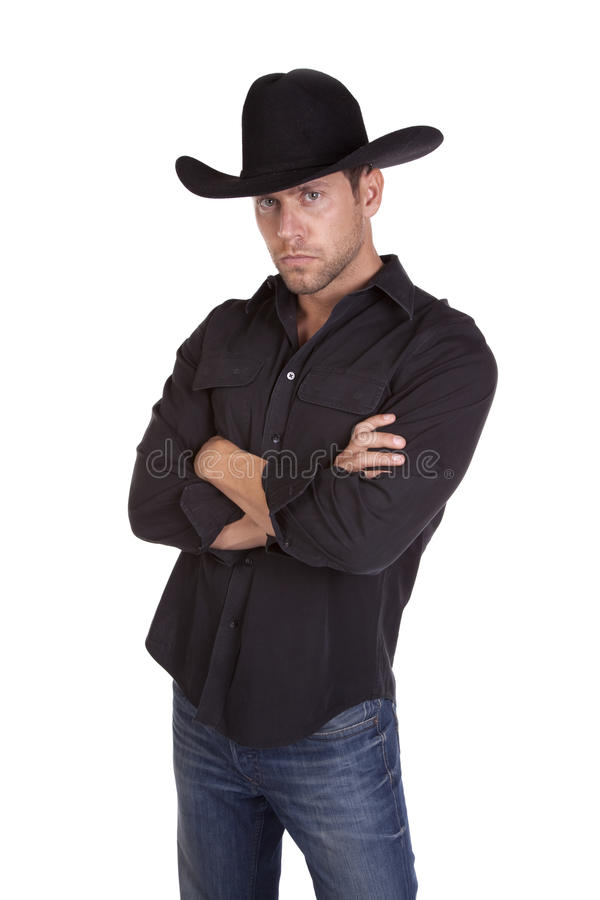 Ernstige cowboy stock foto