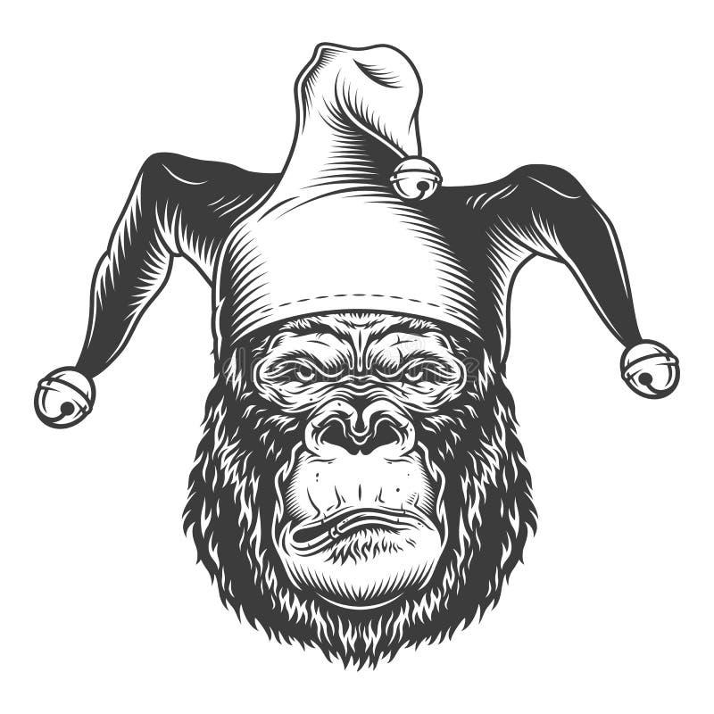 Ernstige gorilla in zwart-wit stijl royalty-vrije illustratie