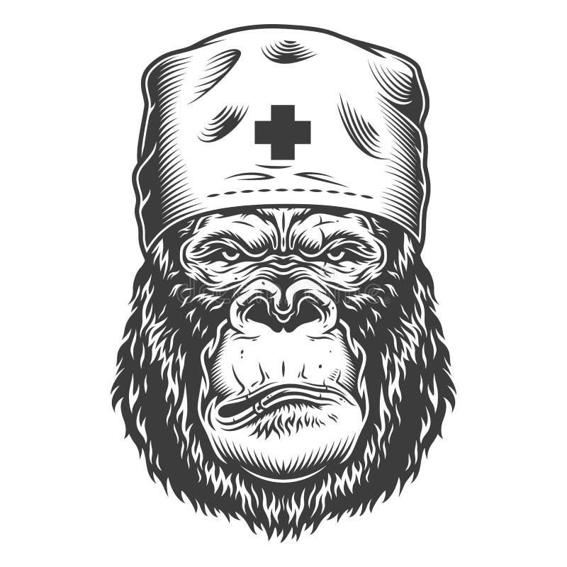 Ernstige gorilla in zwart-wit stijl vector illustratie