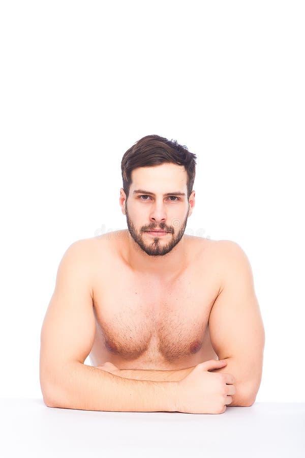 Ernstige half-naked mens stock afbeelding