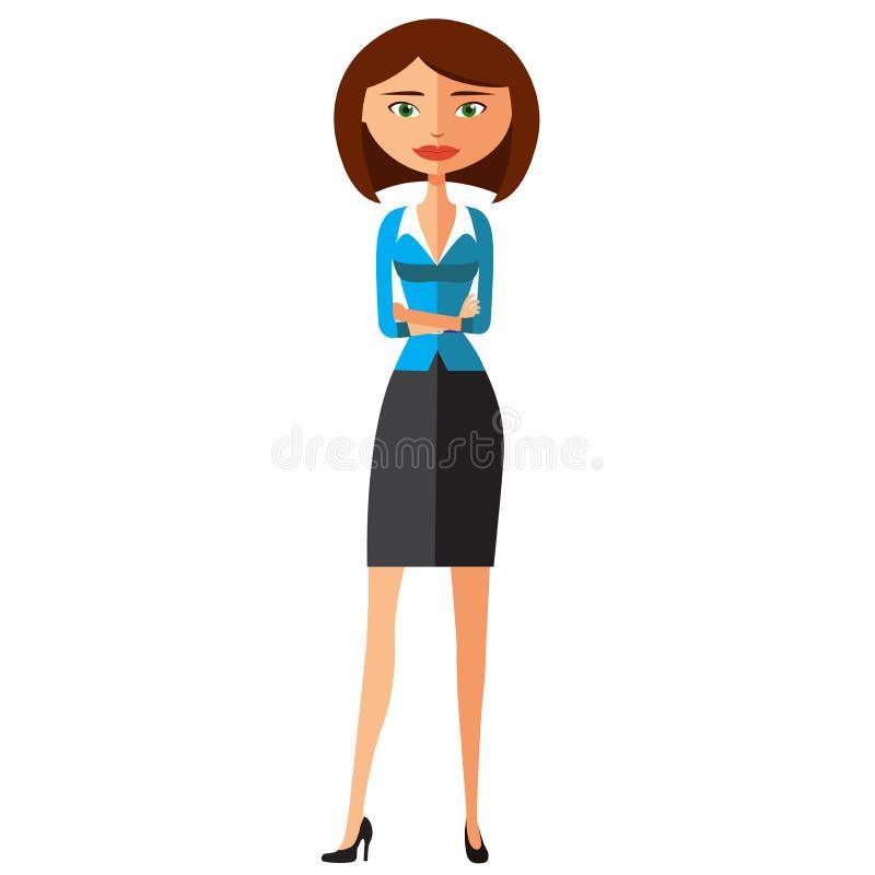 Ernstige leuke bedrijfsvrouw Geconcentreerde bedrijfsvrouw Vector vector illustratie