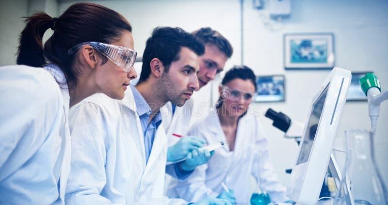 Ernstige onderzoekers die het computerscherm bekijken in het laboratorium stock afbeelding